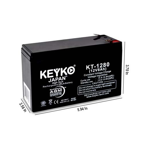 Razor Scooter Battery 12V 8Ah Fresh & REAL 8Amp AGM/SLA Rechargeable Replacement Designed for Scooter - Genuine KEYKO - F2 Terminal W/F1 Adapter - 2 Pack by KEYKO (Image #1)