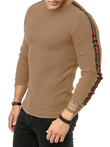 Casual shirt Mode Pull Redbridge Caramel Luxe Longues Tricotés Hommes Sweat Rayé Manches wxR0HRTqa