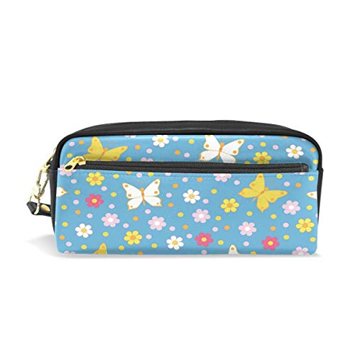Pencil Case, Cute Butterfly Blue Printed Travel Makeup Pouch Large Capacity Waterproof Leather 2 Compartments Best Halloween Gift for Kids Girls Boys ()
