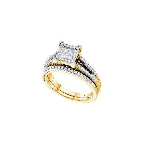 Sonia Jewels Size 5-14k Yellow Gold Ladies Womens Invisible Set Diamond Bridal Engagement Ring W/Matching Wedding Band Set (1/2 cttw.) (Set Bridal Diamond Invisible)