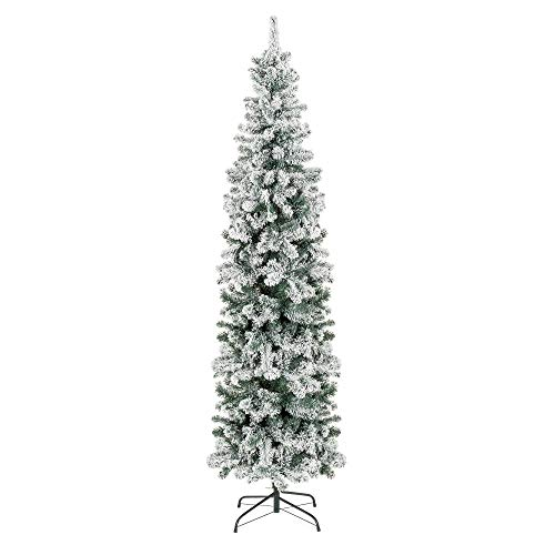 Best Choice Products 7.5ft Snow Flocked Artificial Pencil Christmas Tree Holiday Decoration w/Metal Stand (Christmas Flocked Tree)
