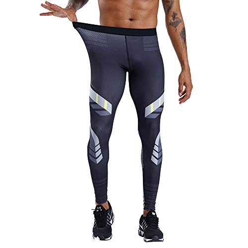 CANGHPGIN Men's Compression Dry Cool Sports Tights Pants Baselayer Running Leggings Yoga Sports Tights Pants (Off White, XL) from CANGHPGIN
