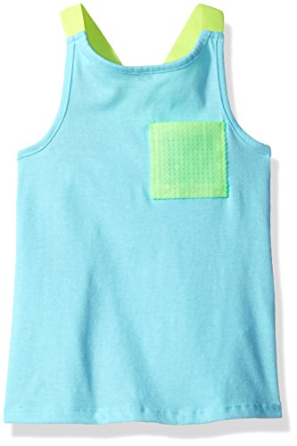 Dream Star Little Girls' Tank with Contrast Racer Straps and Sequin Pocket, (Sequin Racer Tank)