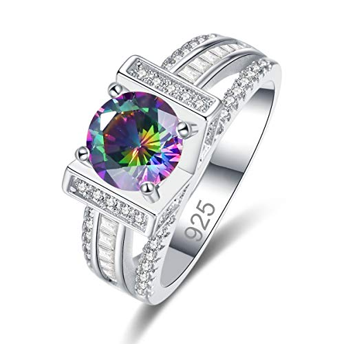 (Narica Women's 925 Sterling Silver Filled Round Cut Rainbow Topaz Engagement Wedding Rings Size 9)