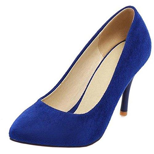 COOLCEPT Mujer Moda Puntiagudo sin Cordones Tacon de Aguja Tacon Fiesta Boda Zapatos Azul