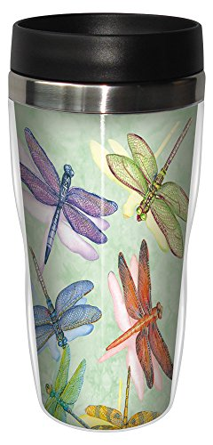 Dragonflies Travel Mug, Stainless Lined Coffee Tumbler, 16-Ounce - Wendy Russell - Gift for Dragonfly and Nature Lovers - Tree-Free Greetings 25500