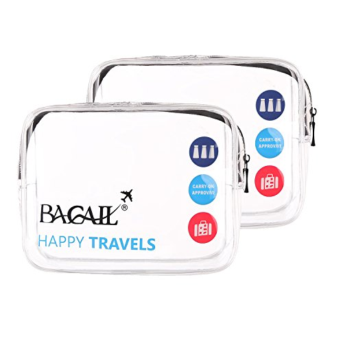 Bagail TSA Approved Clear Travel Toiletry Bag |3-1-1 Quart Sized with Zipper | Airport Airline Compliant Bag | Carry-On Luggage Travel Backpack for Liquids/ Bottles