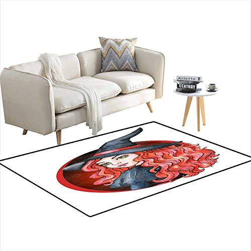 Room Home Bedroom Carpet Floor Mat Beautiful Young Girl - Witch Halloween Costume Watercolor Illustration 4'x10'
