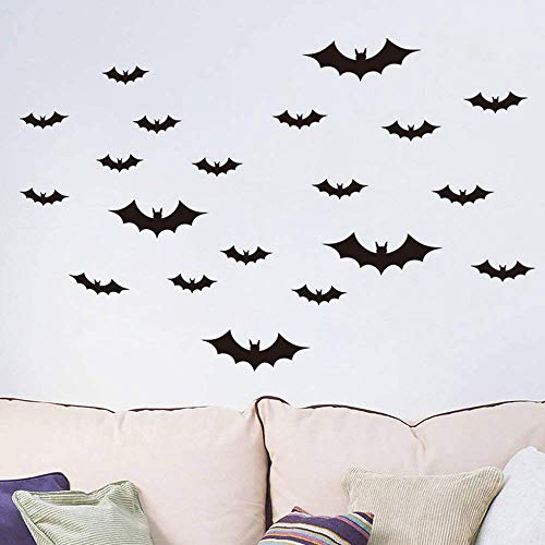 Megrocle 3D Bat Wall Decor DIY Scary Black Bats Wall Decals Removable Window Stickers Halloween PVC Party Supplies Decorations,36 pcs
