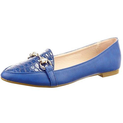 Sopily - Scarpe da Moda ballerina alla caviglia donna nodo metallico Tacco a blocco 1 CM - Blu