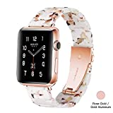 Light Apple Watch Band - Fashion Resin iWatch Band Bracelet Compatible with Copper Stainless Steel Buckle for Apple Watch Series 4 Series 3 Series 2 Series1 (Nougat White, 38mm/40mm)
