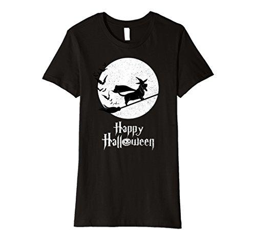 Basset Hound Costumes (Womens Witch BASSET HOUND Dog Funny Halloween Costume T-Shirt Large Black)