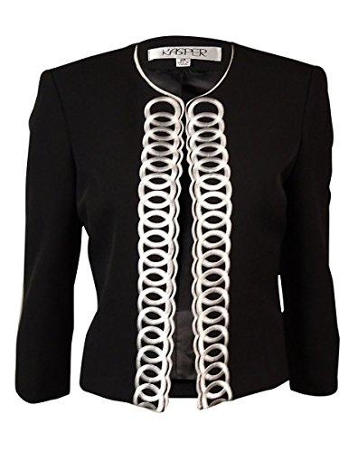 Kasper Women's Scoop Neck Open-Front Embroidered Blazer (2P, Black)