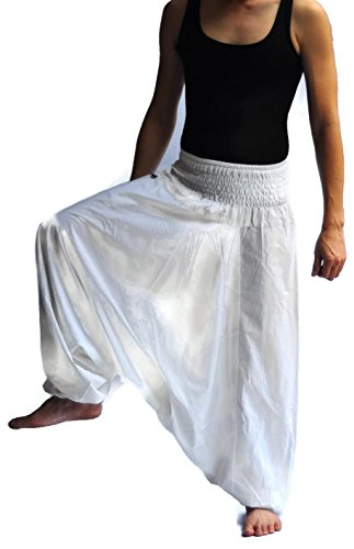 Mens Baggy Yoga Hippie Boho Aladdin Alibaba Harem Pants (white)