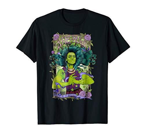 (Marvel She-Hulk Vintage Floral Design Graphic T-Shirt)