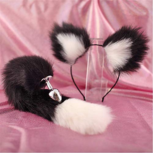 Make life wonderful Black & White Three Sizes Fluffy Faux Fox Tail & Cat Ears Headband Charms Role Play Costume Party Masquerade Cosplay Prop (Black & White, S)