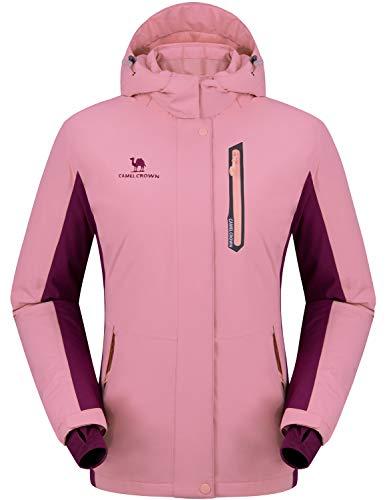 CAMEL CROWN Women's Mountain Snow Waterproof Ski Jacket Detachable Hood Windproof Fleece Parka Rain Jackt Winter Coat Pink M
