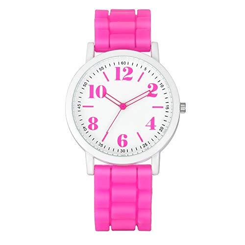 (Xuxuou Student Quartz Watch, Silicone Gel Ceramic Style Band Watch Geneva Candy Color Silicone Watch Digital Pointer Watch)