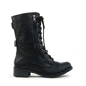Top Moda Women's Pack-72 Lace Up Combat Boot,6 B(M) US,Black