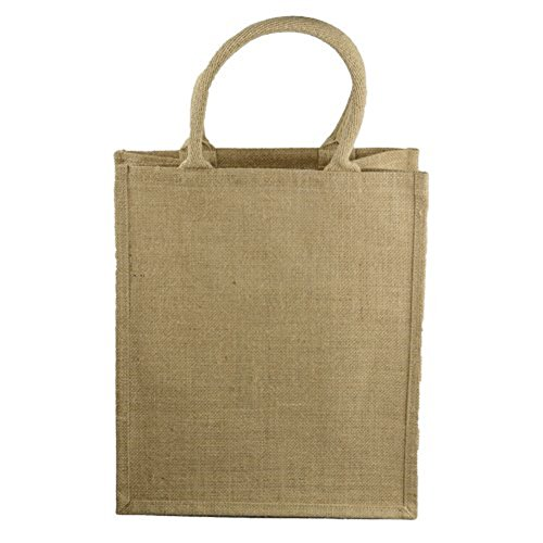 Natural Jute Burlap 6 Bottle Wine Tote Bag Reusable Jute Wine Carrier w/Divider - Pack Tote Six