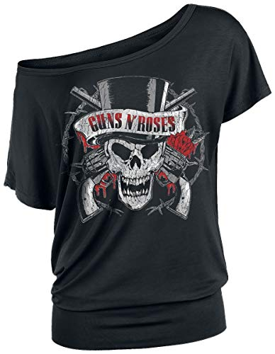 6ec3439a088225 Guns N Roses Top Hat Skull Girls Shirt Black