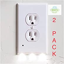 Outlet Covers with LED Night Light with Sensor No Batteries Or Wires Needed Quick Install Pleasant Lighting Great For Kids Room Baby Nursery Hallway Kitchen and Bedroom Wall Plate 2 PACK