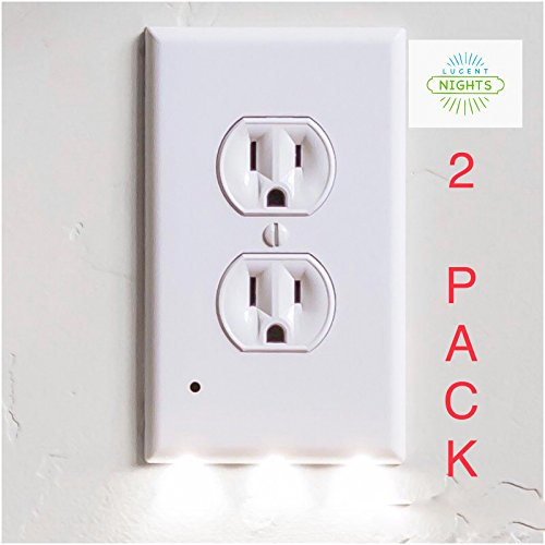 Outlet Covers with LED Night Light with Sensor No Batteries Or Wires Needed Quick Install Pleasant Lighting Great For Kids Room Baby Nursery Hallway Kitchen and Bedroom Wall Plate 2 (Baby Nursery Outlet Cover)