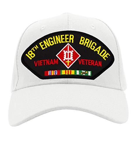 (Patchtown 18th Engineer Brigade - Vietnam War Veteran Hat/Ballcap Adjustable One Size Fits Most (White, Add American Flag))