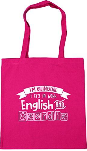 HippoWarehouse I'm Bilingual I Cry in Both English and Geordie Tote Shopping Gym Beach Bag 42cm x38cm, 10 litres Fuchsia