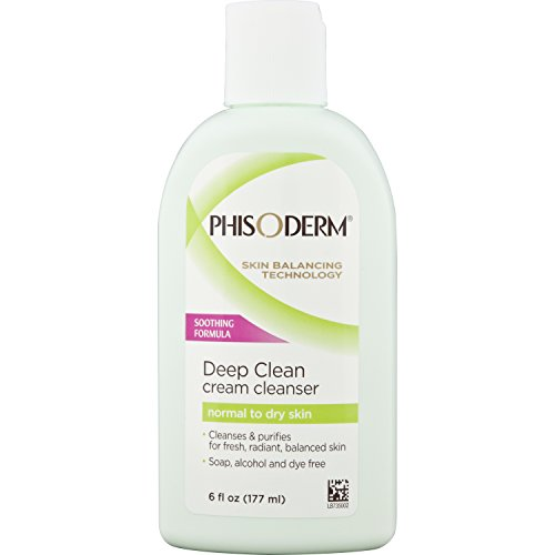 pHisoderm Deep Cleaning Cream Cleanser, for Normal to Dry Skin, 6 FL OZ (177 ml) (Pack of 6) - alcohol free, soap free, dermatologist tested facial wash by pHisoderm