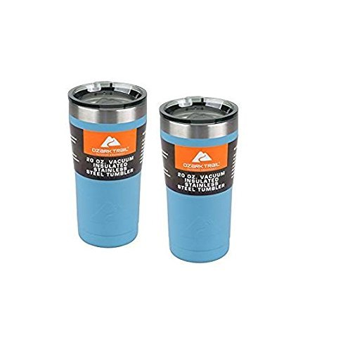 Ozark Trail 20-Ounce Double-Wall, Vacuum-Sealed Tumbler (2, Robin Egg Blue)