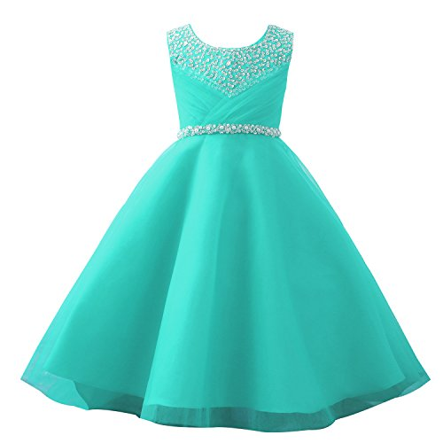 (Castle Fairy Girls' First Communion Organza Sequin Pearls Flower Girl Dress with Train (6, Mint))