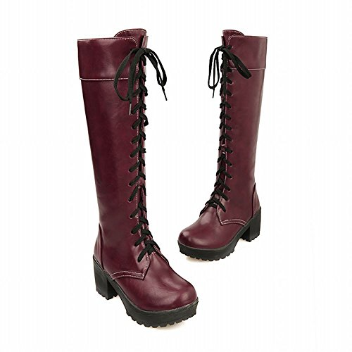 high Fashion Boots Lace up heel Women's Mid Leather Western Red Shine Knee Show Block WzR78z4