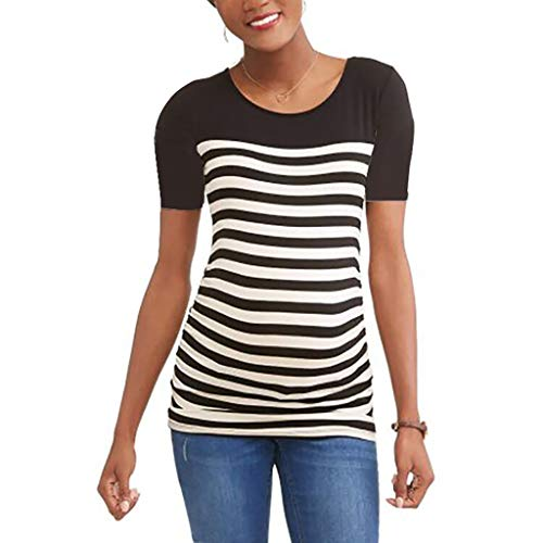 Snap Beige Stripes (Women Maternity T-Shirt, Short Sleeve Stripe Casual Round Neck, Pregnancy Side Ruched Fashion Style)