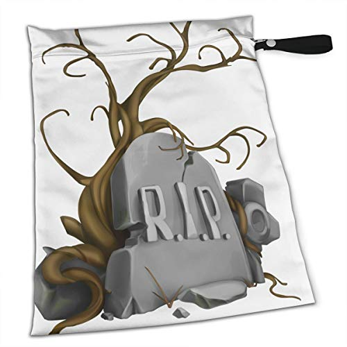 Pumnims Halloween Rip Tombstones Signs for Swimsuit and Towels Waterproof Kids Baby Boy Clothes Diaper Hanging Reusable Menstrual Sanitary Cloth Pads Handle Wristlet Portable Wet-Dry Bag]()