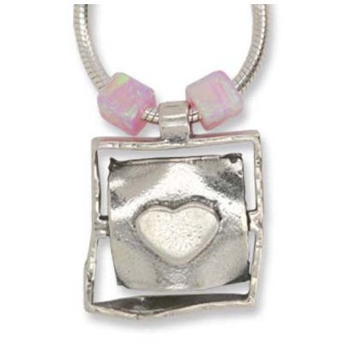 Jewelry, Necklace, 925 Sterling Silver, Heart Design in Square Shape, Pink Beads. Pendent Size: 0.5