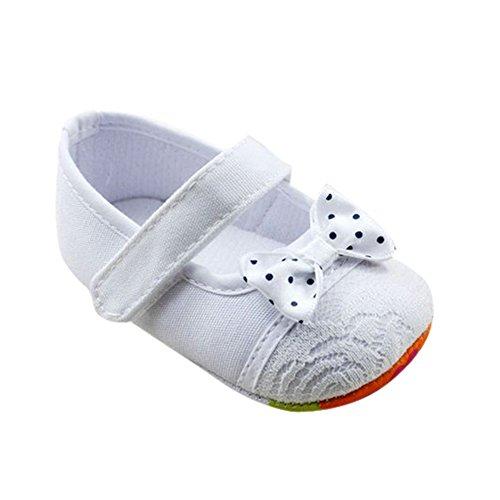 Weixinbuy Baby Girl's Cotton Soft Sole Bow Princess Crib Shoe White M