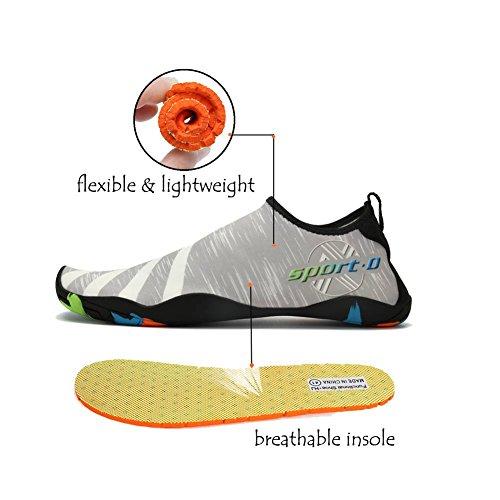 Lxso Uomo Donna Acqua Scarpe Multifunzione Quick-dry Aqua Shoes Scarpe Da Nuoto Leggere Con Fori Di Drenaggio 2-grigio