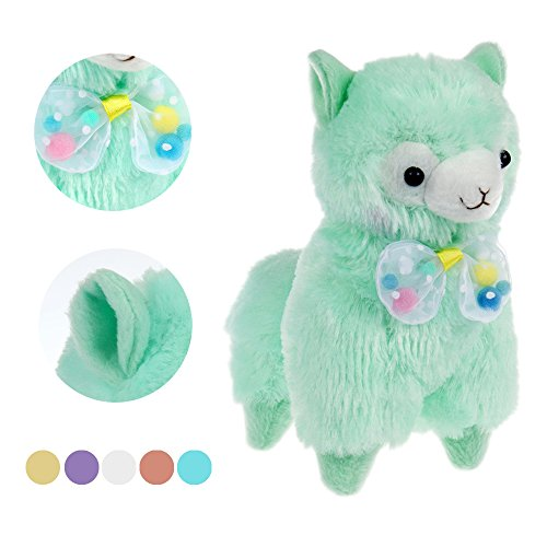 "KSB 7.3"" Green Cute Soft Stuffed Plush Bow Tie Alpaca Cushion Toy Doll,Best Birthday Christmas Gifts For The Children Kids Over 2 Years"