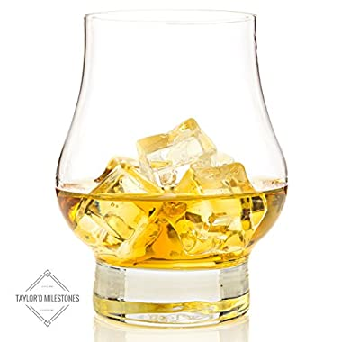 Taylor'd Milestones Reserve Whiskey and Scotch Glasses, Premium Whiskey Glass shaped like a tasting glass for best flavor and enjoyment of spirits. Gift Set includes 2 10.5 oz Crystal Clear Glassware.