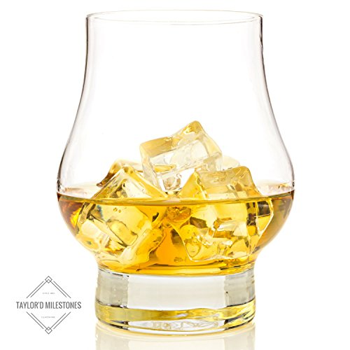 Taylor'd Milestones Reserve Whiskey Scotch Glasses, Classic Diamond Etched Set of 2 10.5 oz Whiskey Glass