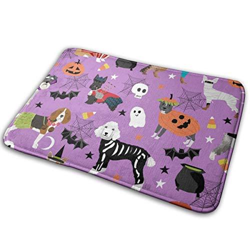 YANAIX Dogs in Halloween Costumes - Dog Breeds Dressed Up Fabric - Purple_232 Doormats Bath Rugs Outdoor/Indoor Carpet Bathroom Decor Rug 16