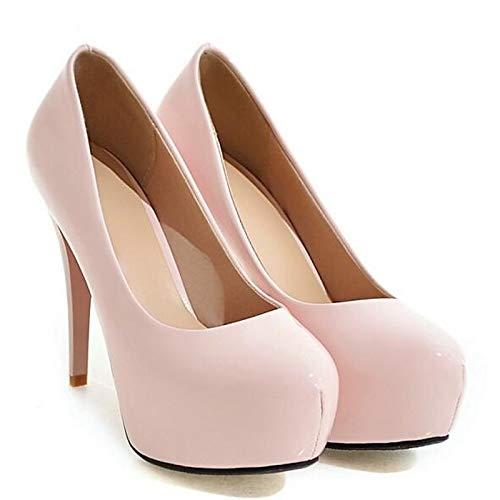 Mujer Comfort Rosa Spring Pink Zapatos Blanco Stiletto ZHZNVX Poliuretano de PU Negro Heels Heel qHfU6x