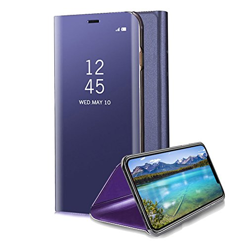 Price comparison product image For iPhone X Mirror Case, Aearl Slim Thin Electroplate Plating PC Smart Clear View Window Vertical Flip Standing Cover Full Body Protective Bumper Shell with Screen Protector for iPhone X -Dard Purple