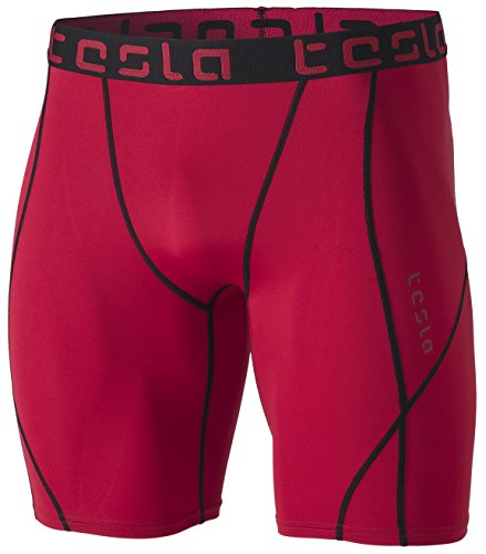 TM-MUS17-RED_Small Tesla Men's Compression Shorts