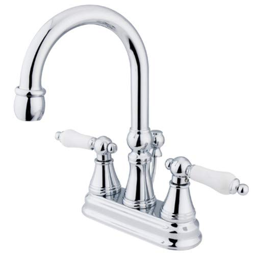 Faucet Madison Chrome Polished (Madison Centerset Bathroom Faucet with Double Porcelain Lever Handles Finish: Polished Chrome)
