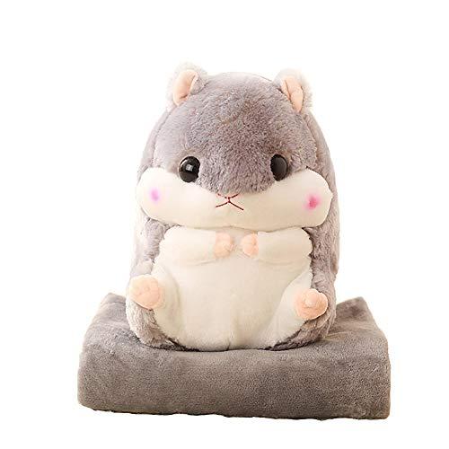 - Baby Blanket Hamster Throw Pillow Plush Stuffed Animal Toy 19.7Inch Grey + Blanket