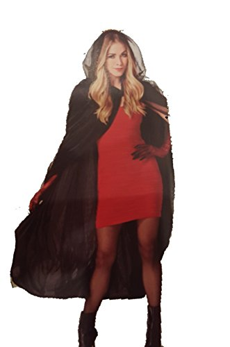 Black Cape with Hood, Medieval Style Adult's Hood for Halloween costume draculla Devil Witch Wizard (Magician Costume Target)