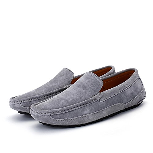 Cuir De Chaussures Mocassins Loafers Suedé Ville Casual Icegrey Flats Hommes Gris Bateau E6RqFF