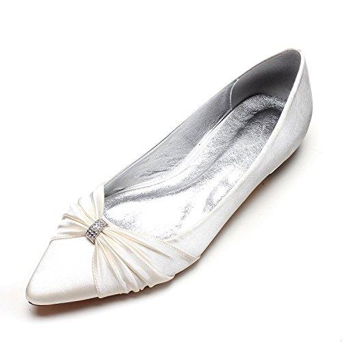 Satin Cerrado Tamaño Corte Las Gran Boda Dedo Low Heels yc Pie Mujeres De La Ivory Del L Zapatos zapatos Jane fiesta x1wqFU74YW